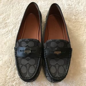 Coach Black Signature Print Penny Loafers 9